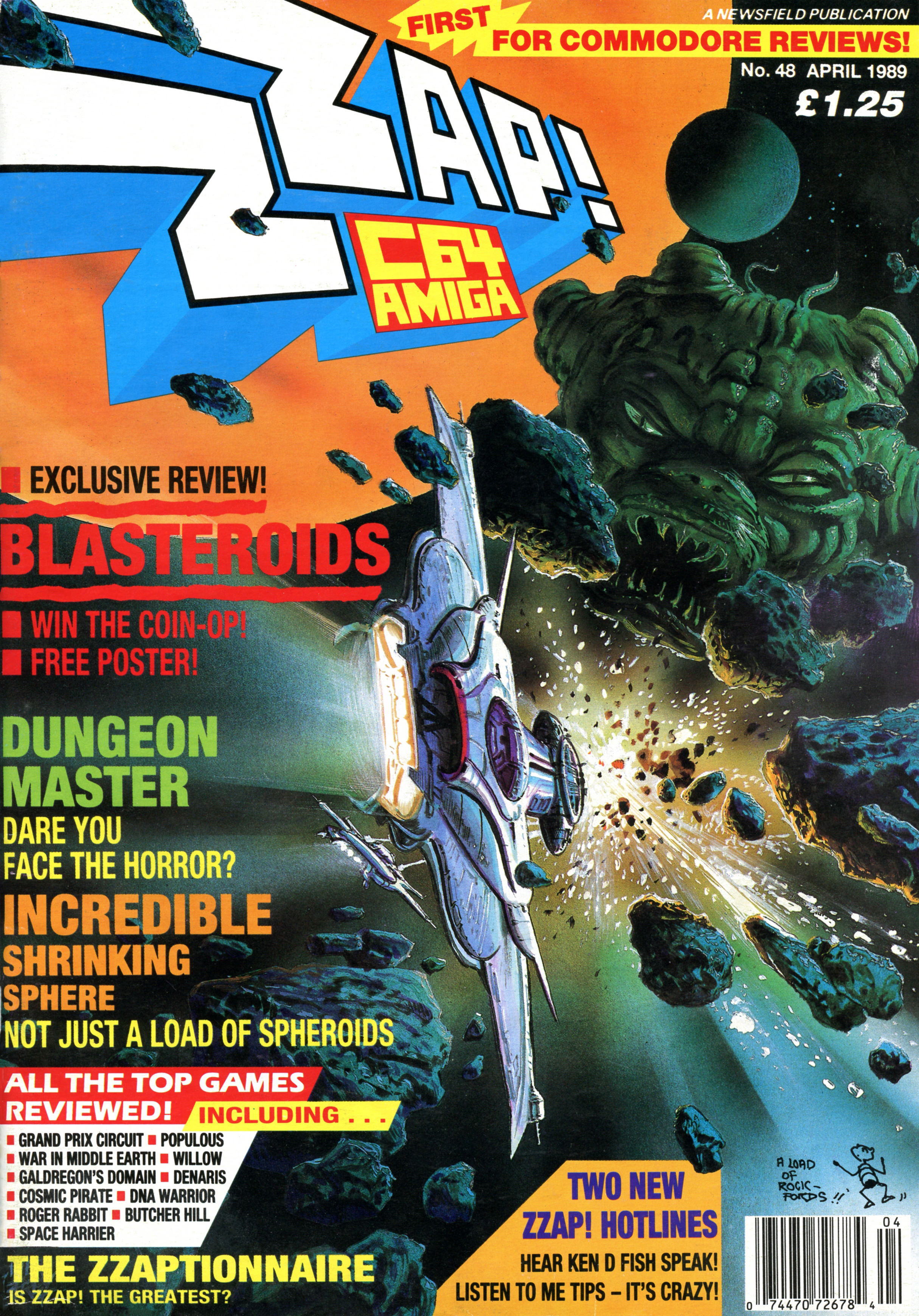 Dungeon Master for Amiga Cover published in British magazine 'Zzap', Issue #48 April 1989