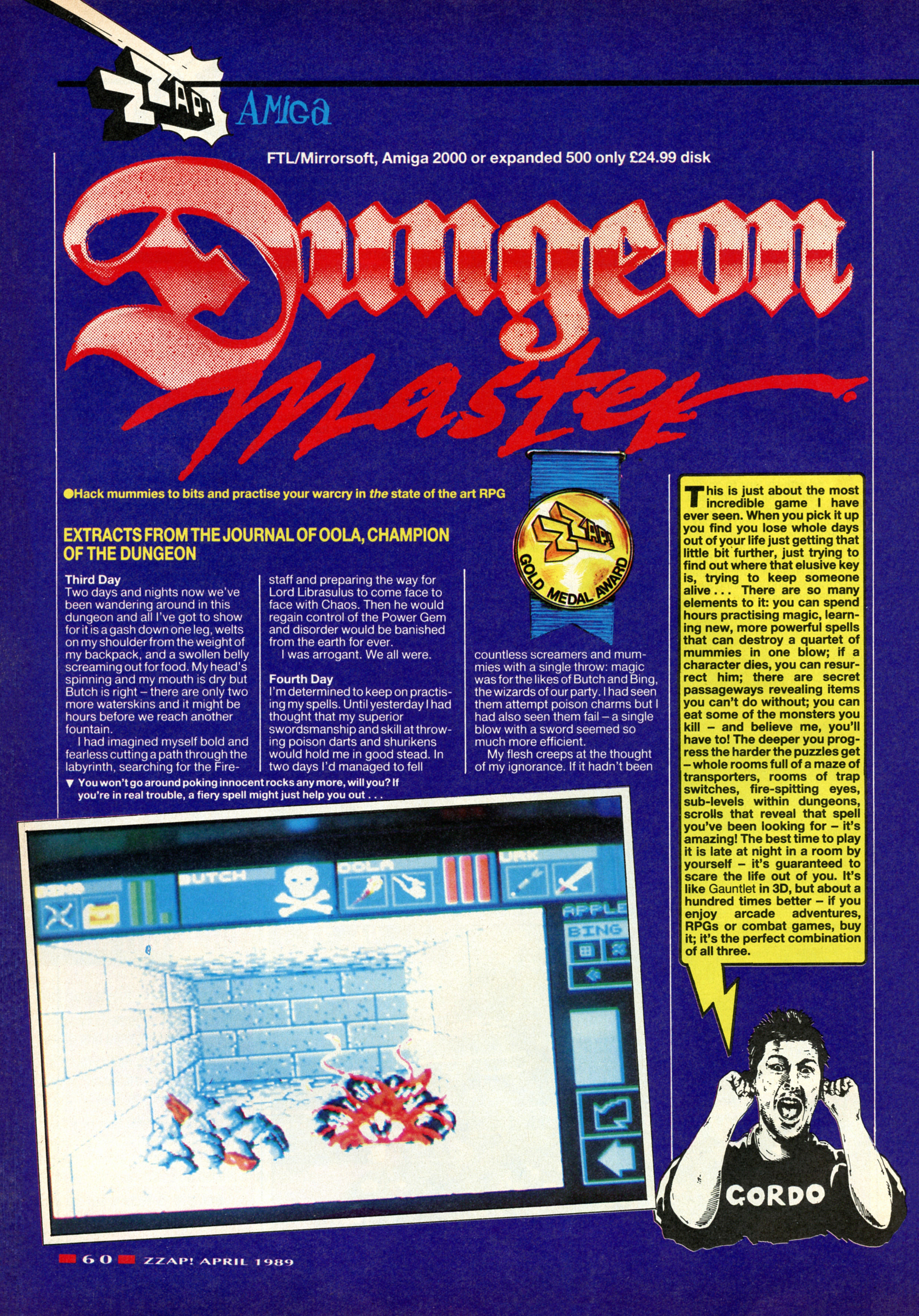 Dungeon Master for Amiga Review published in British magazine 'Zzap', Issue #48, April 1989, Page 60