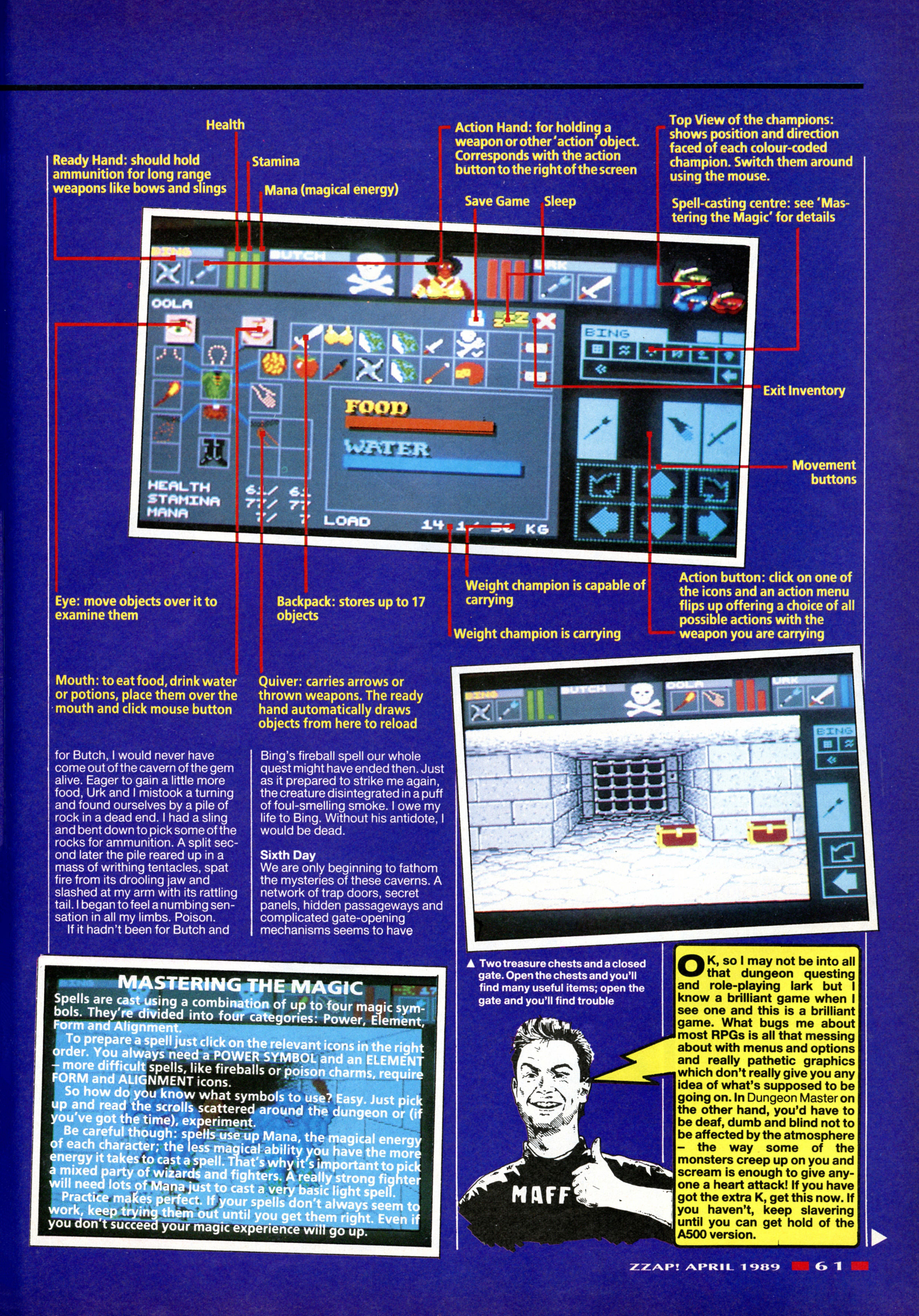 Dungeon Master for Amiga Review published in British magazine 'Zzap', Issue #48, April 1989, Page 61