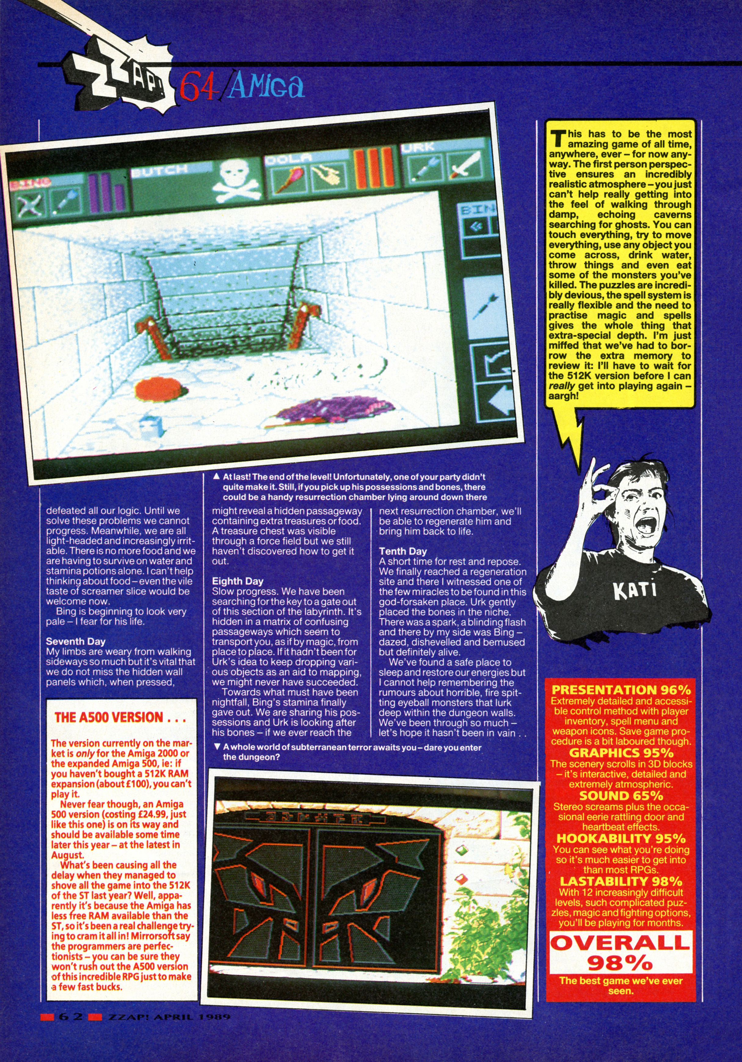 Dungeon Master for Amiga Review published in British magazine 'Zzap', Issue #48, April 1989, Page 62