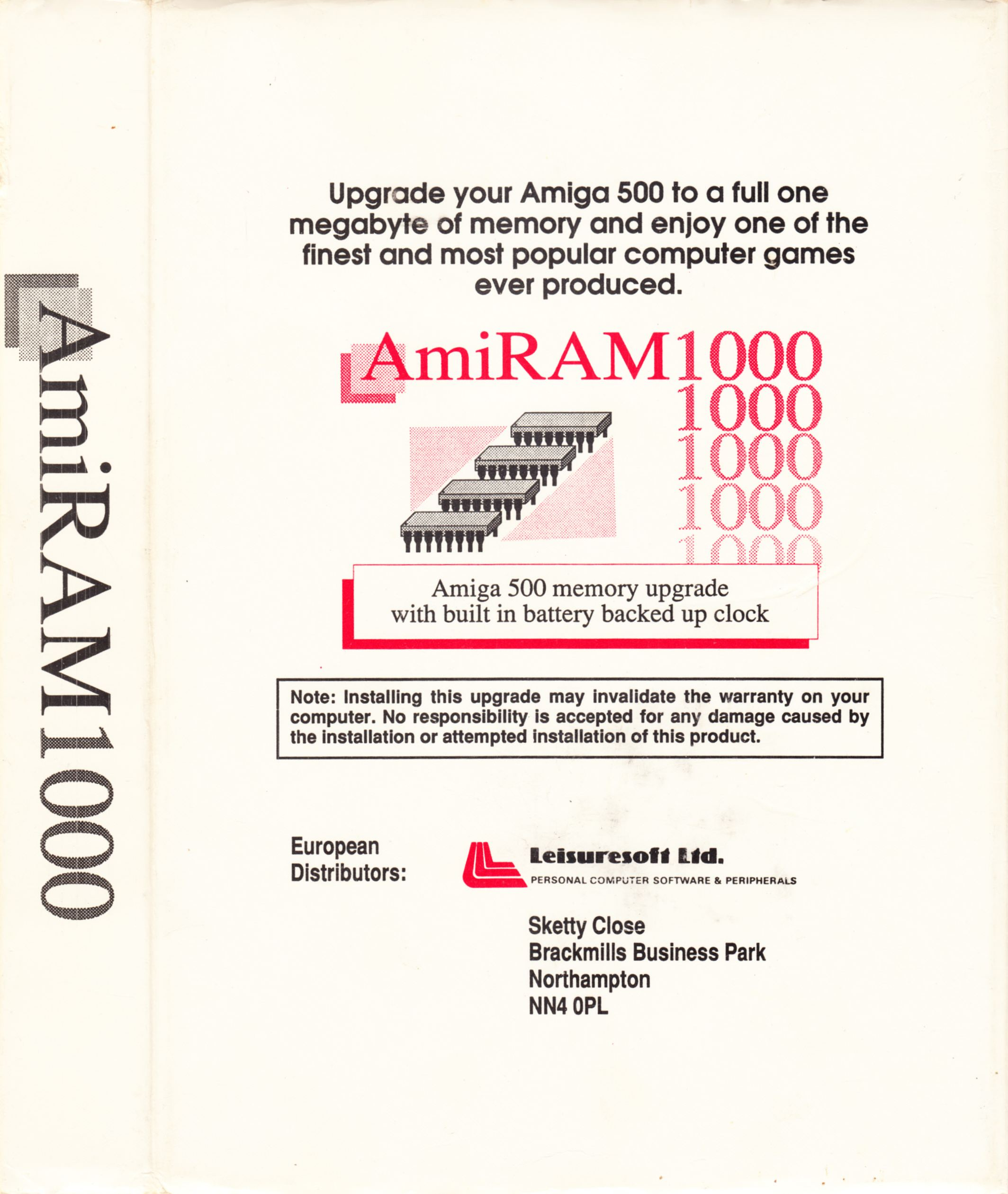 Memory Card - AmiRAM 1000 - EU - Amiga - With Clock DM - Box - Back Right - Scan