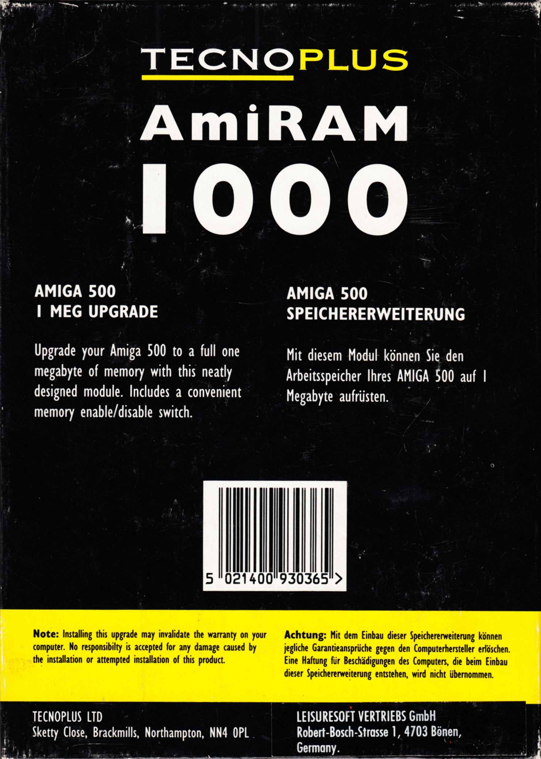Memory Card - AmiRAM 1000 - EU - Amiga - Without Clock DM CSB - Box - Back - Scan