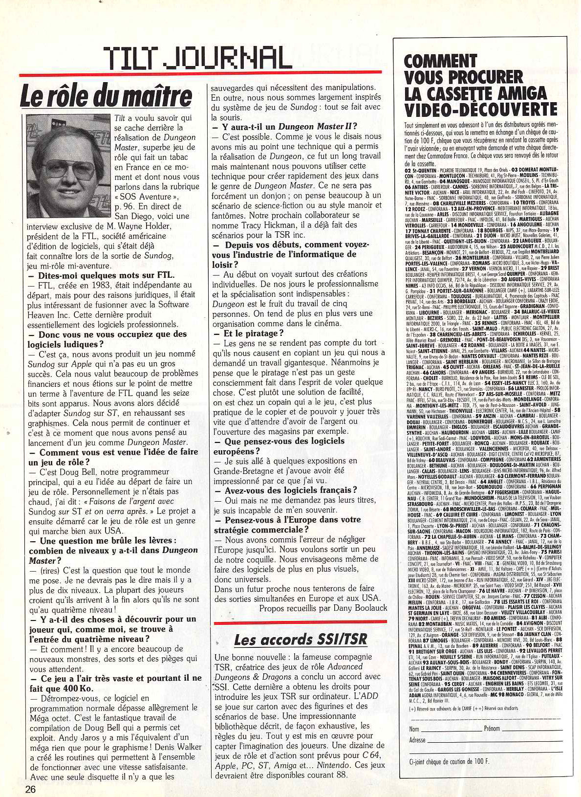 Interview of Wayne Holder (with a photo) published in French TILT Magazine 52 (March 1988) on page 26