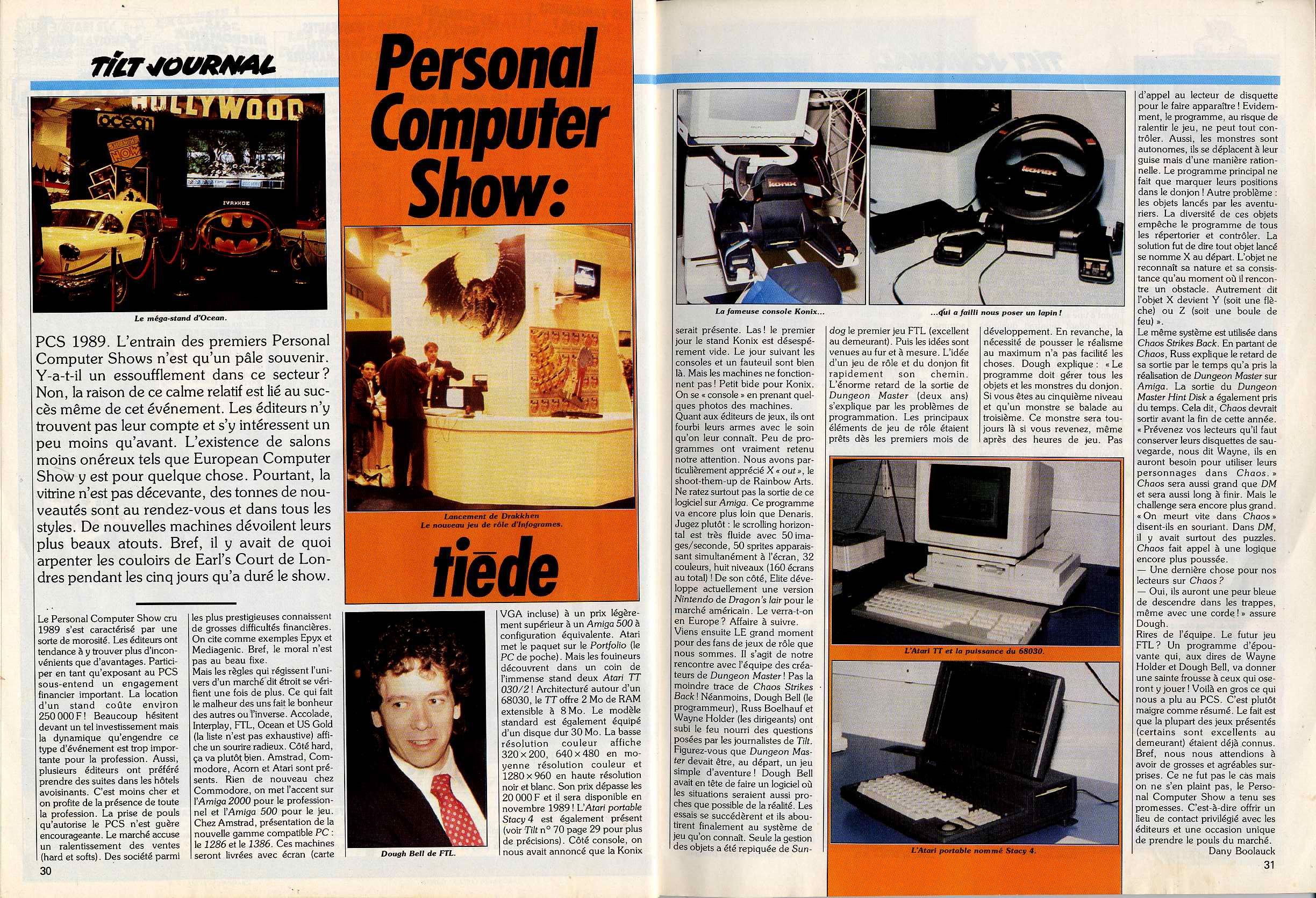 Interview of Doug Bell (with a photo) published in French TILT Magazine 71 (November 1989) on pages 30-31