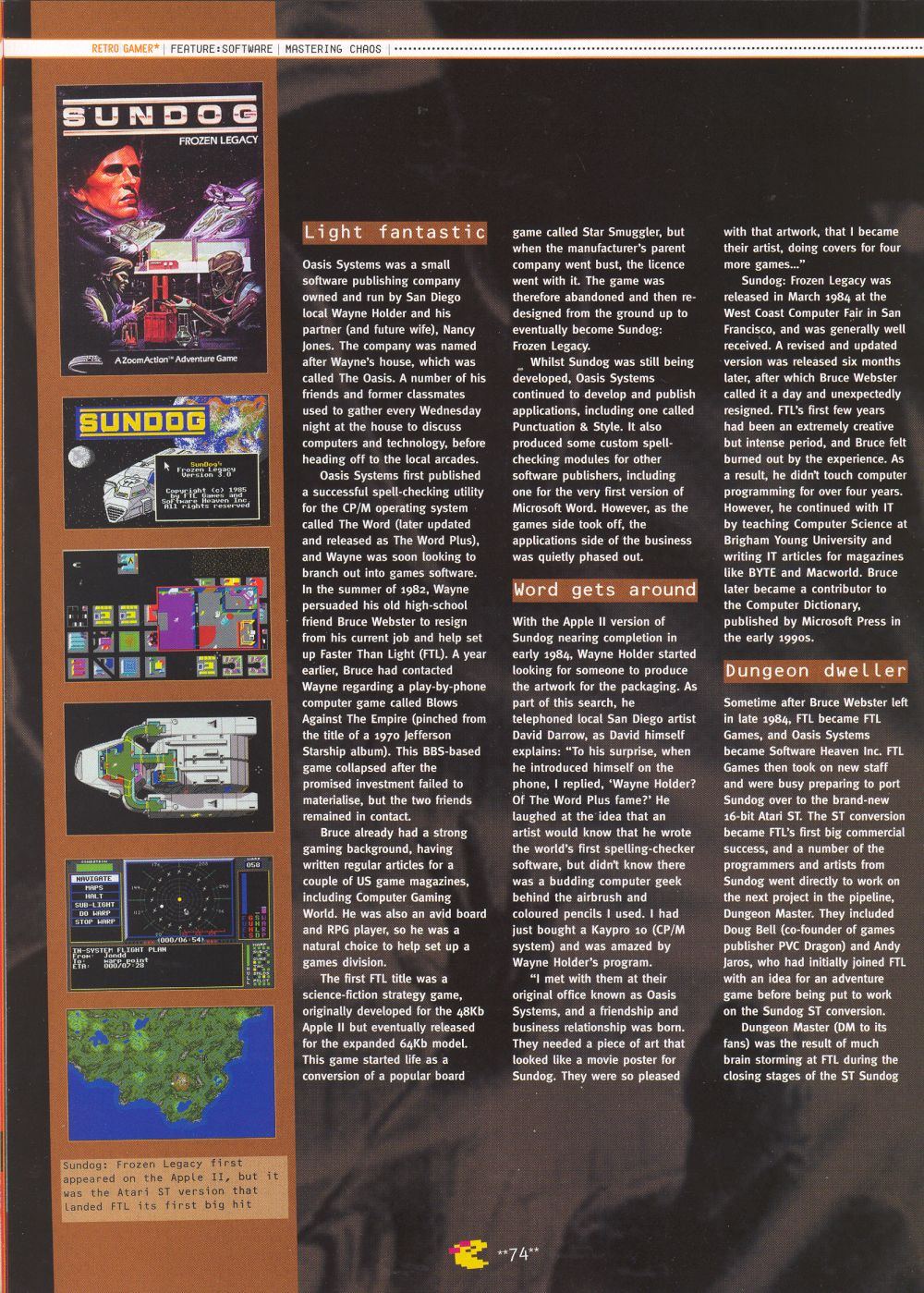 An article titled 'Mastering Chaos', printed in issue 10 of 'Retro Gamer' and written by Richard Hewison Page 03
