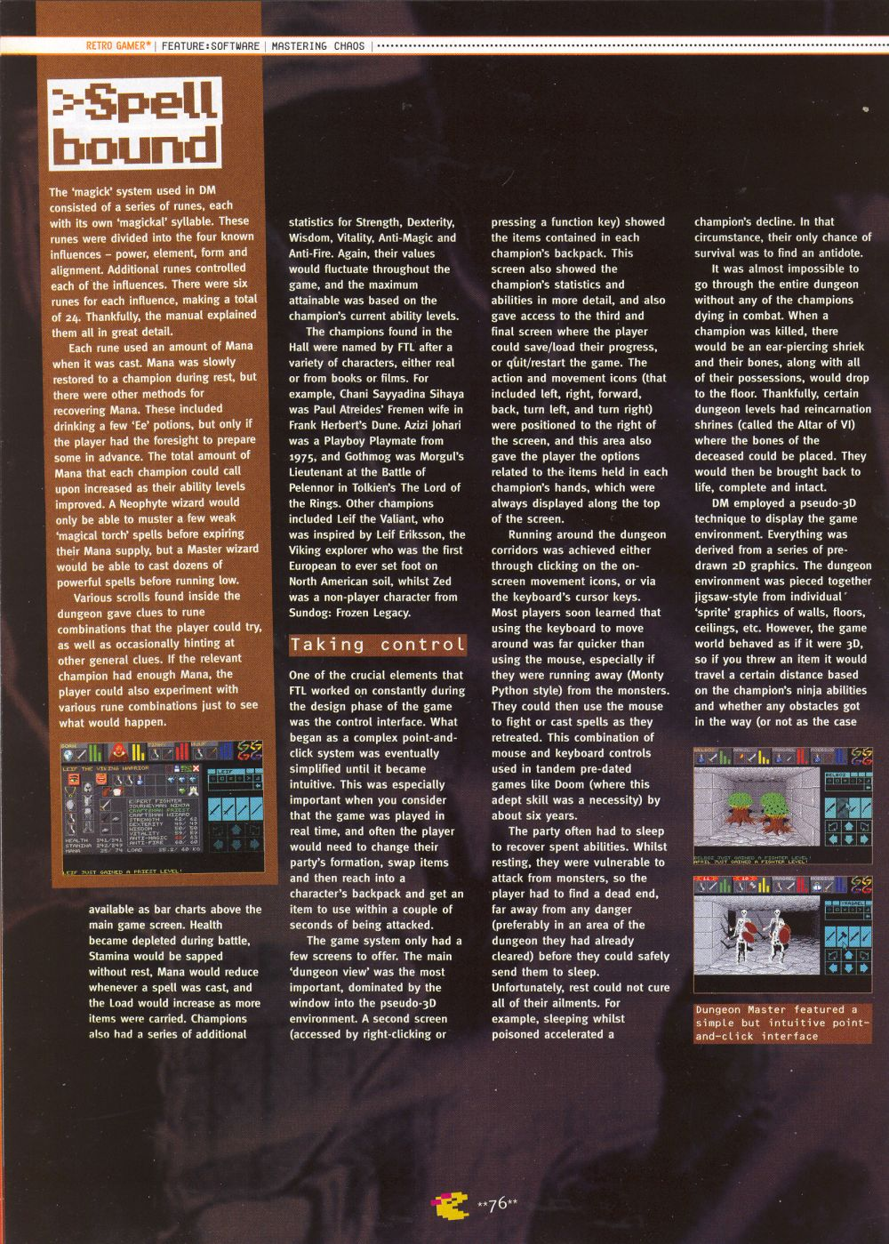 An article titled 'Mastering Chaos', printed in issue 10 of 'Retro Gamer' and written by Richard Hewison Page 05