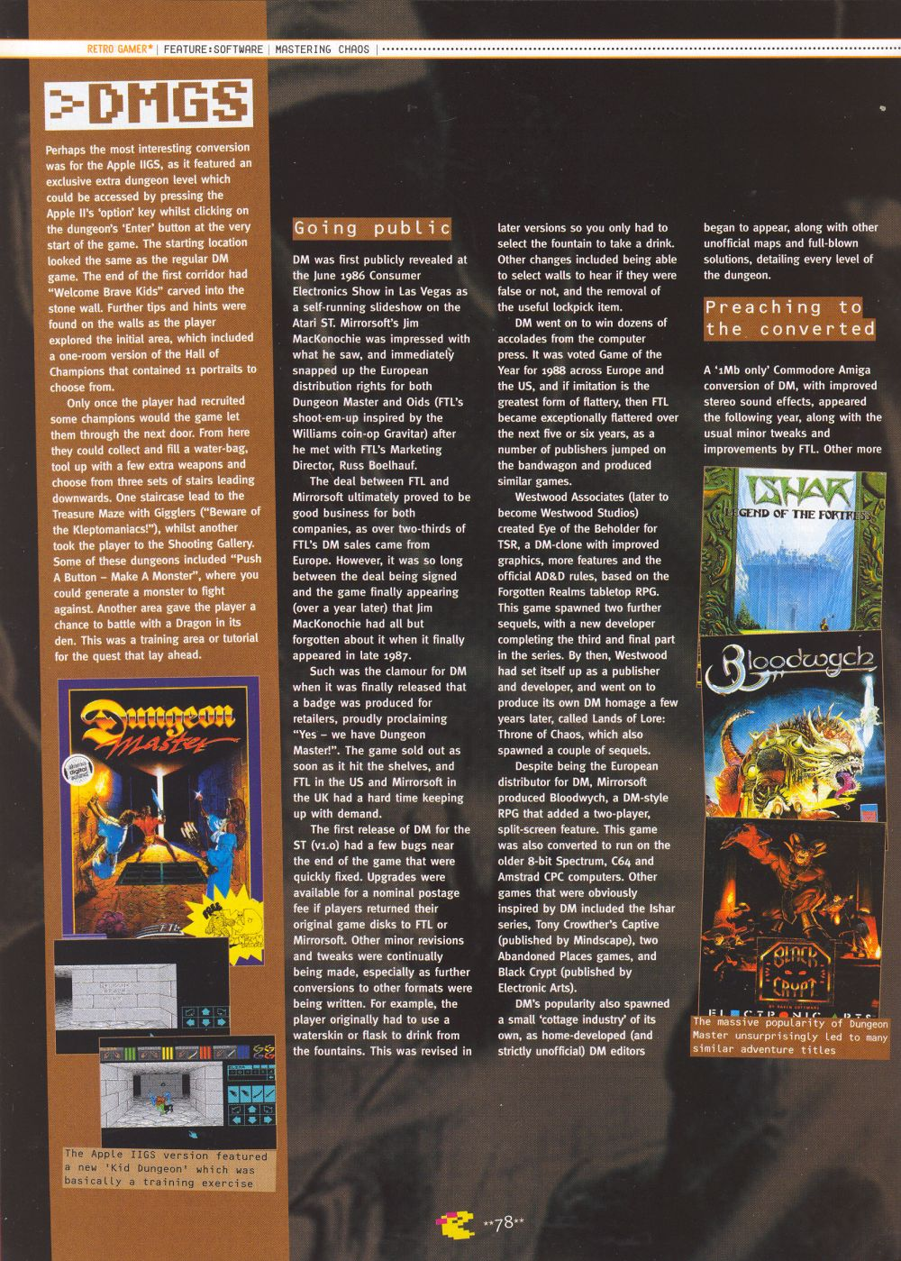 An article titled 'Mastering Chaos', printed in issue 10 of 'Retro Gamer' and written by Richard Hewison Page 07