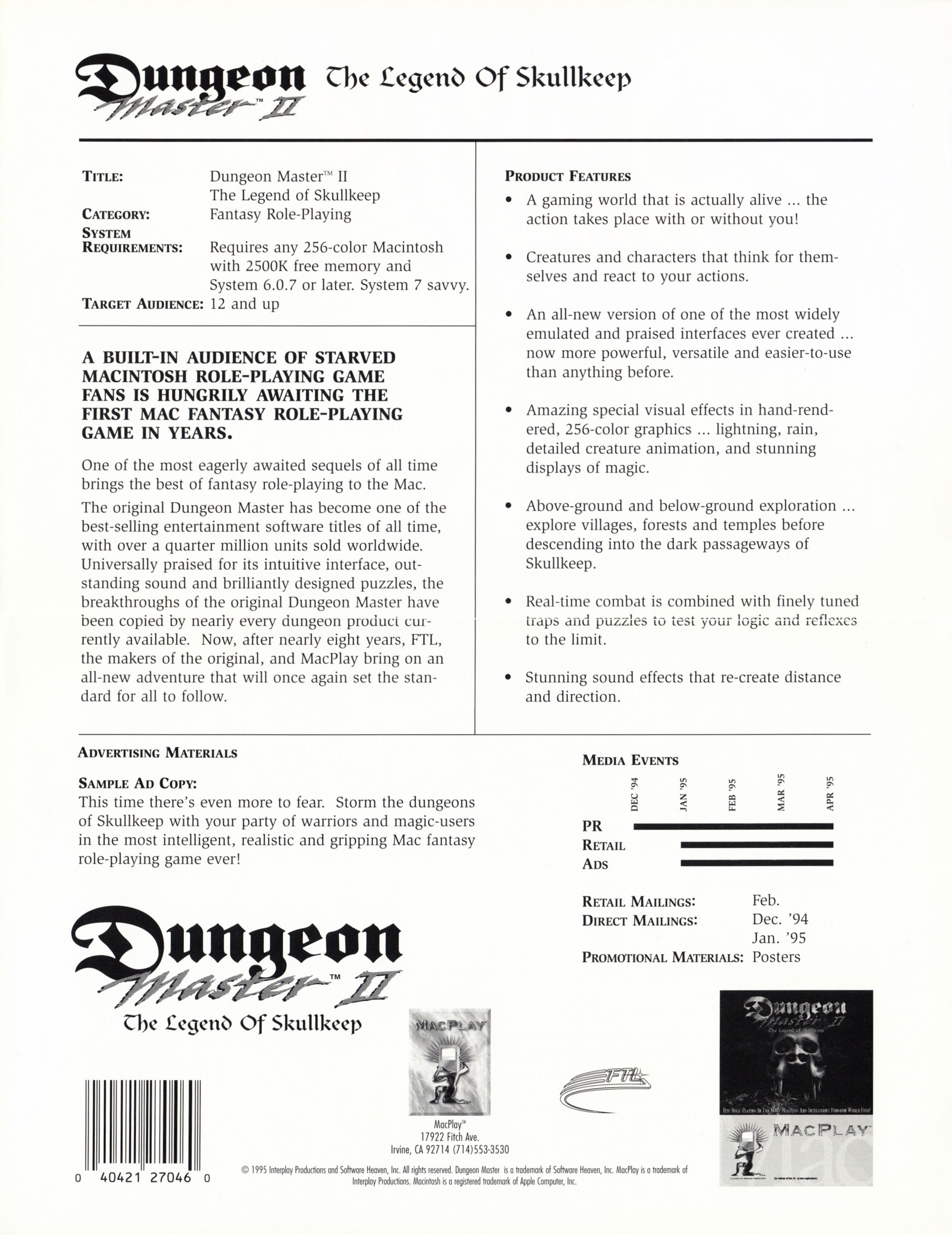 Retailer Kit - Dungeon Master II - US - Macintosh Retailer Flyer - Back - Scan