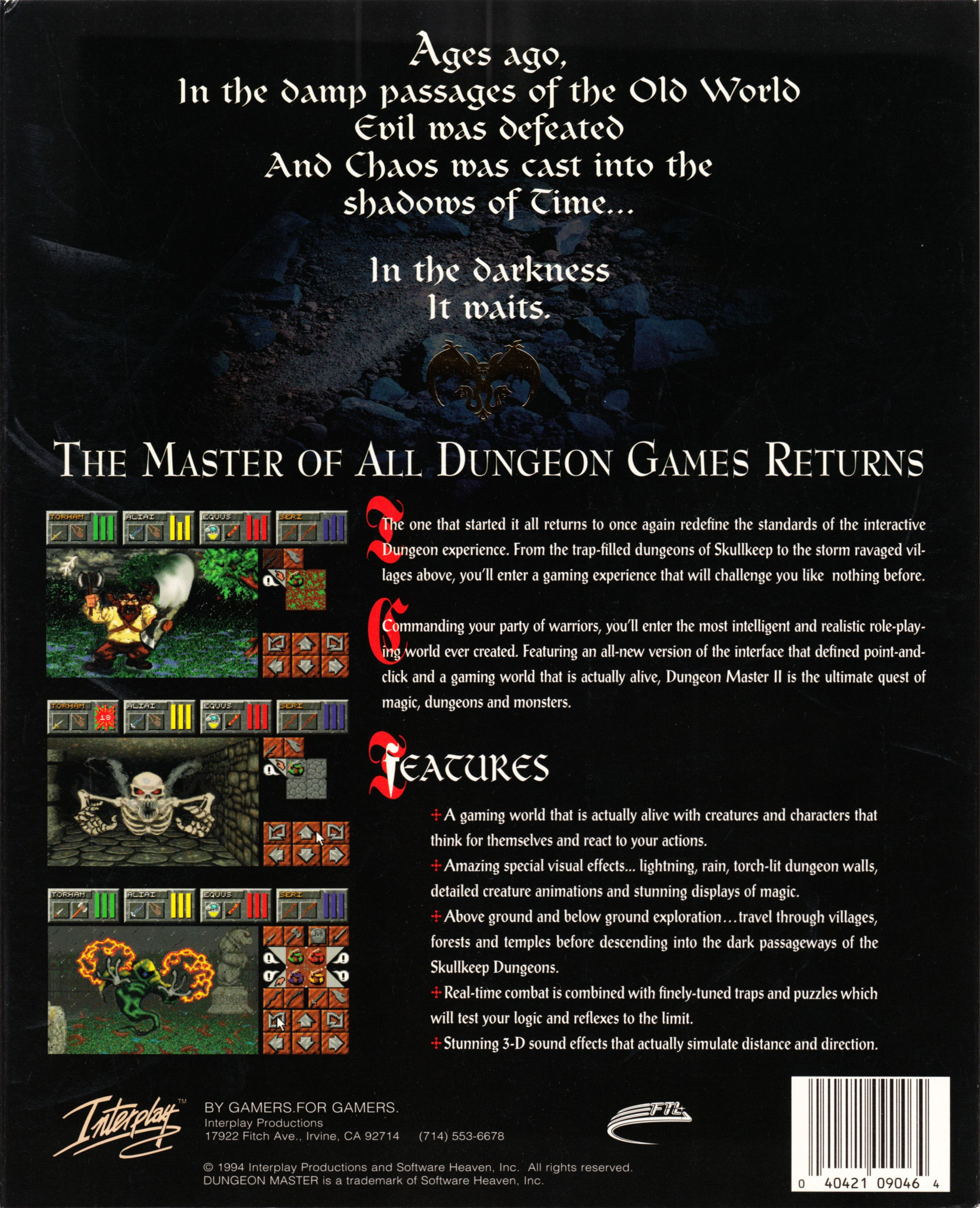 Retailer Kit - Dungeon Master II - US - PC Big Box Sleeve - Back - Scan