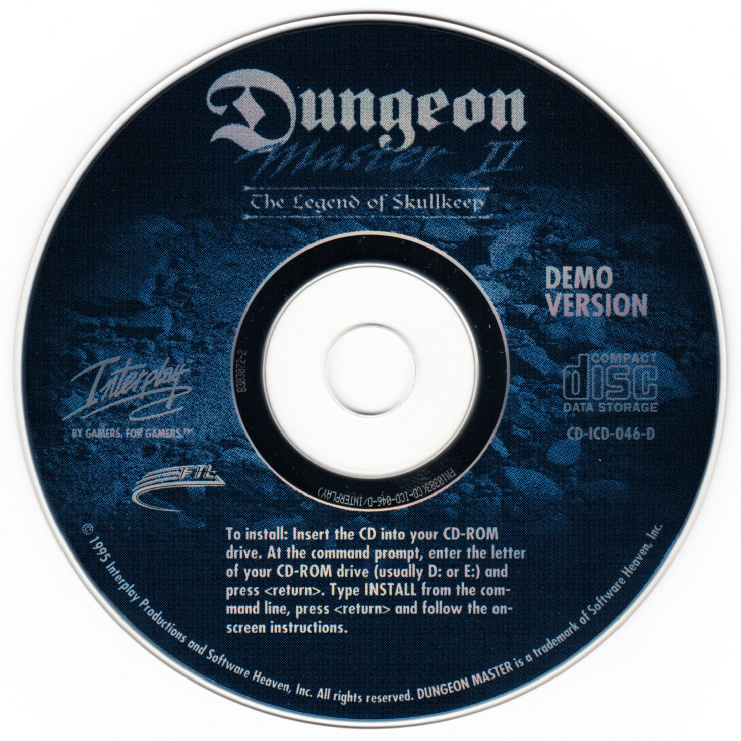 Retailer Kit - Dungeon Master II - US - PC Demo Compact Disc - Front - Scan