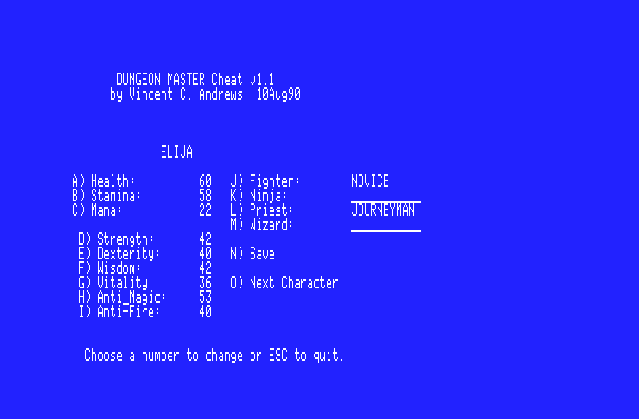 Dungeon Master Cheat 1.1 (for Apple IIGS) - Screenshot