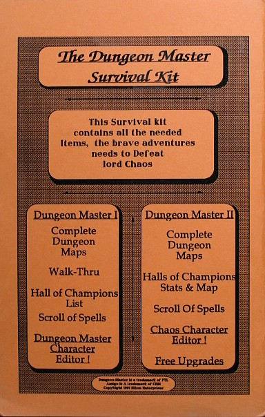 The Dungeon Master Survival Kit for Amiga - Back Cover