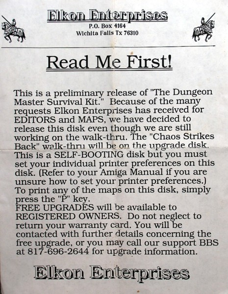 The Dungeon Master Survival Kit for Amiga - Note Front