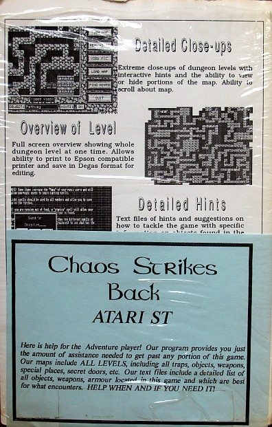 Tony Severa's Hintdisk and Gaming Aids - Chaos Strikes Back for Atari ST - Back
