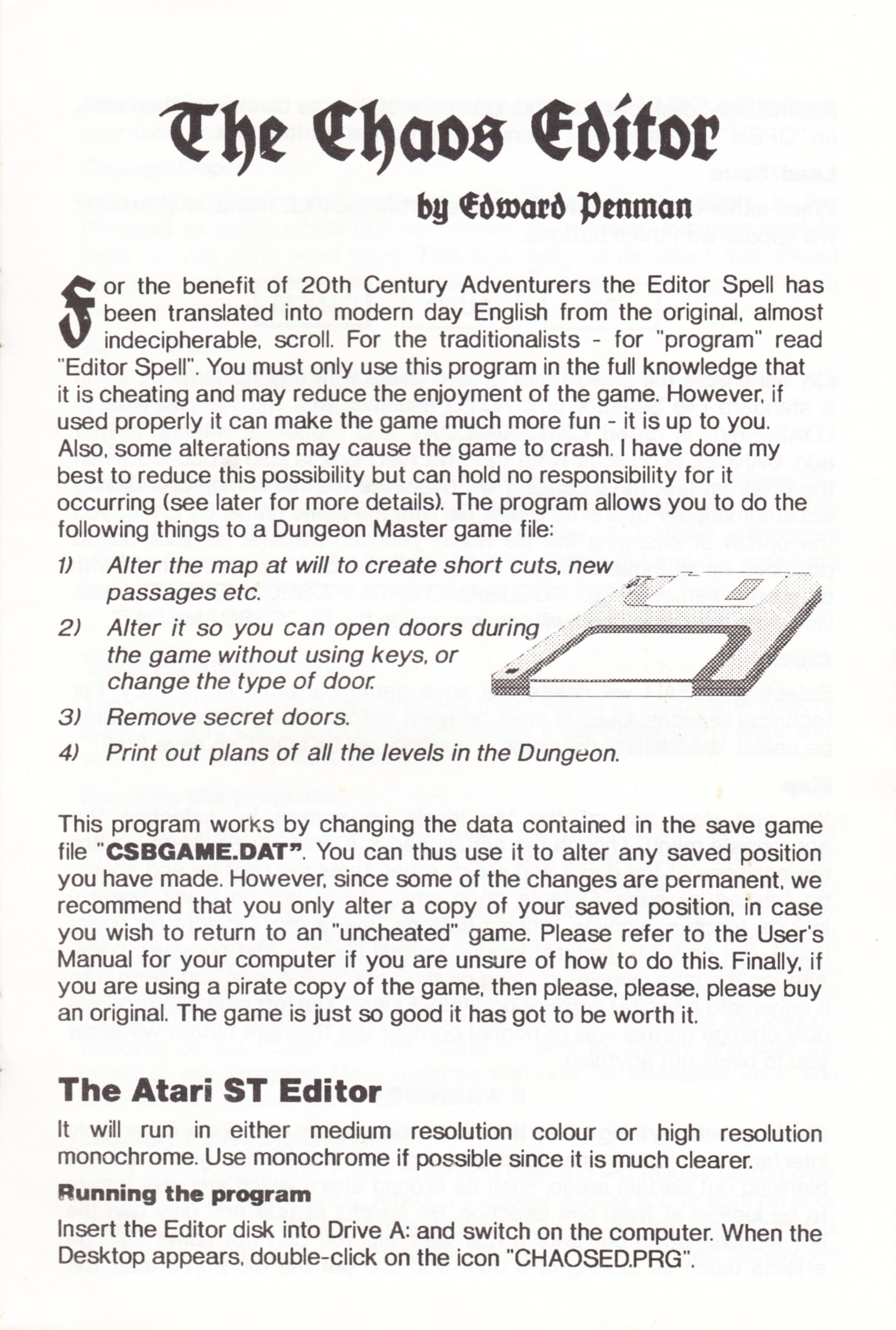 Tool - The Chaos Editor - UK - Atari ST - Manual - Page 015 - Scan
