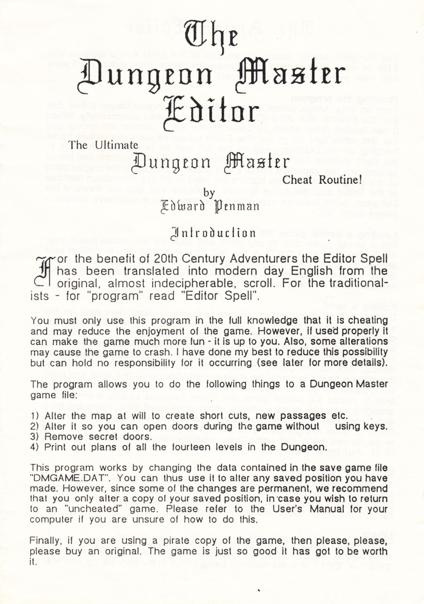 Tool - The Dungeon Master Editor - UK - Amiga - Amiga Manual - Page 001 - Scan