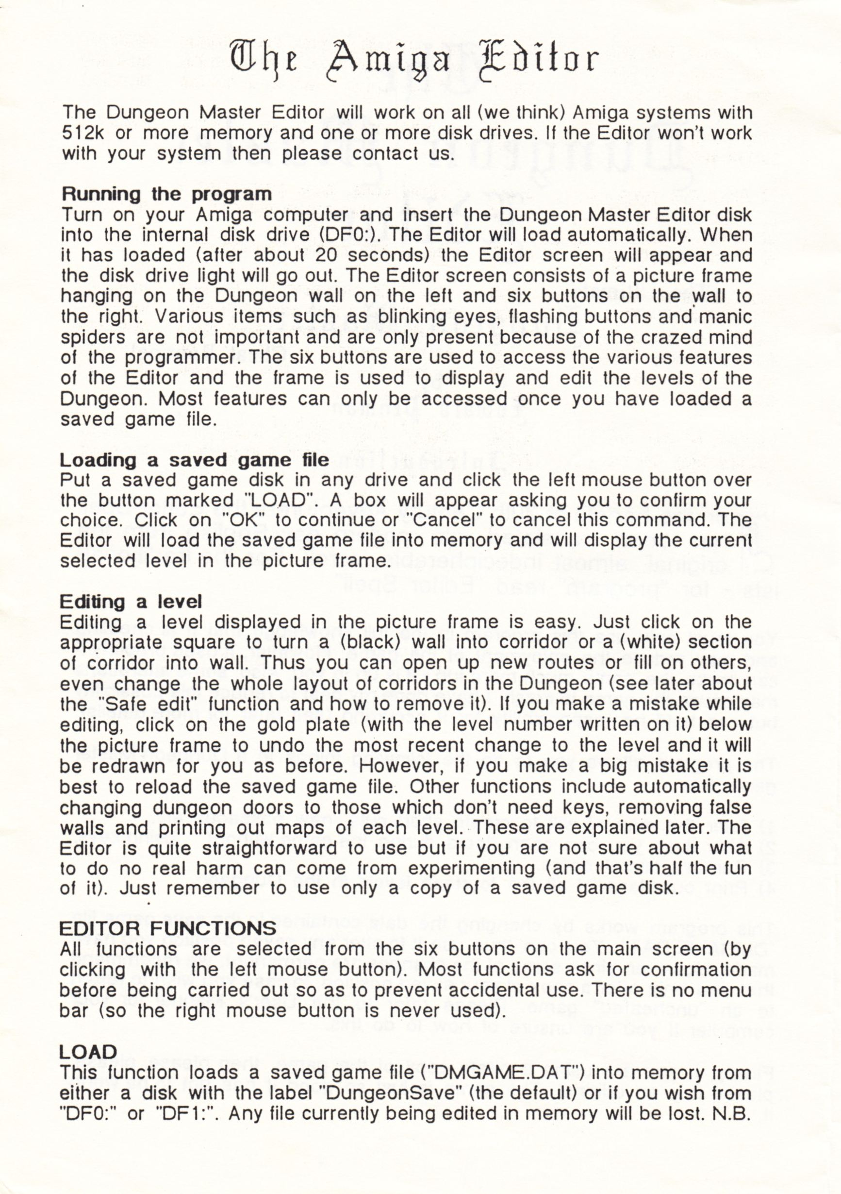 Tool - The Dungeon Master Editor - UK - Amiga - Amiga Manual - Page 002 - Scan