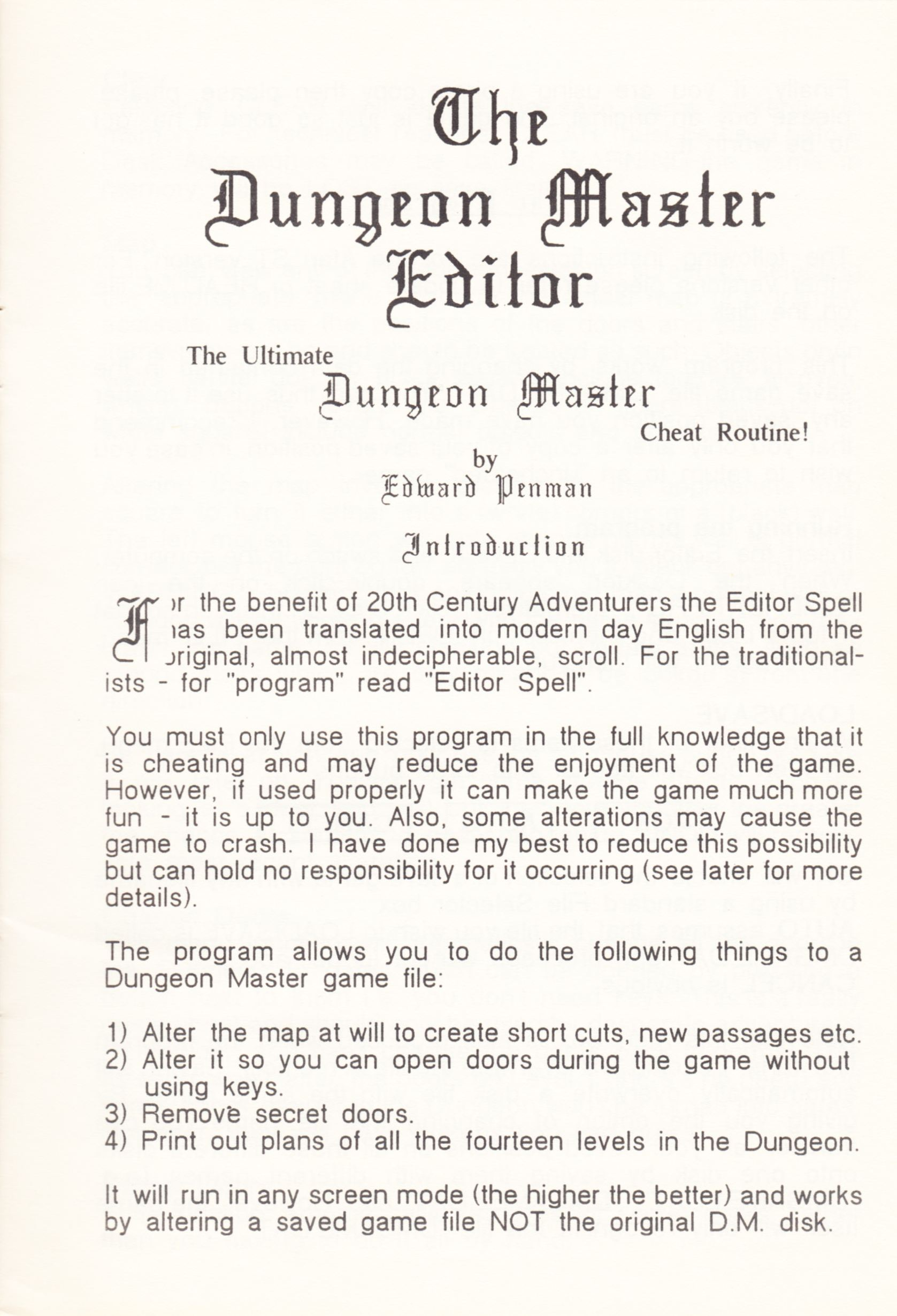 Tool - The Dungeon Master Editor - UK - Amiga - Atari ST Manual - Page 019 - Scan