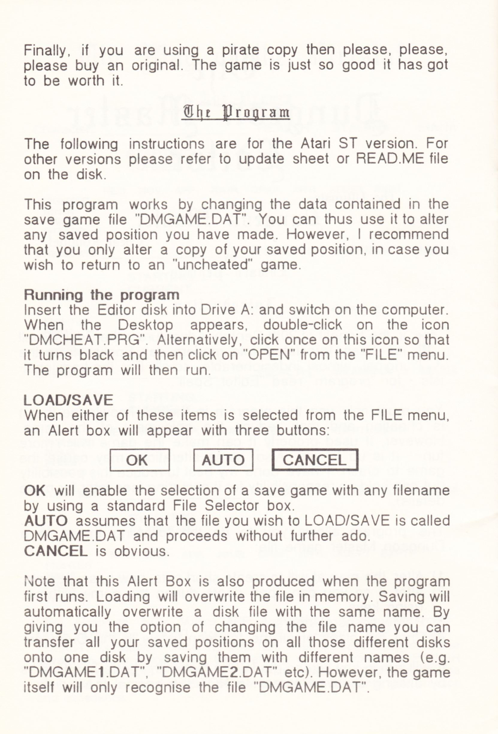 Tool - The Dungeon Master Editor - UK - Amiga - Atari ST Manual - Page 020 - Scan