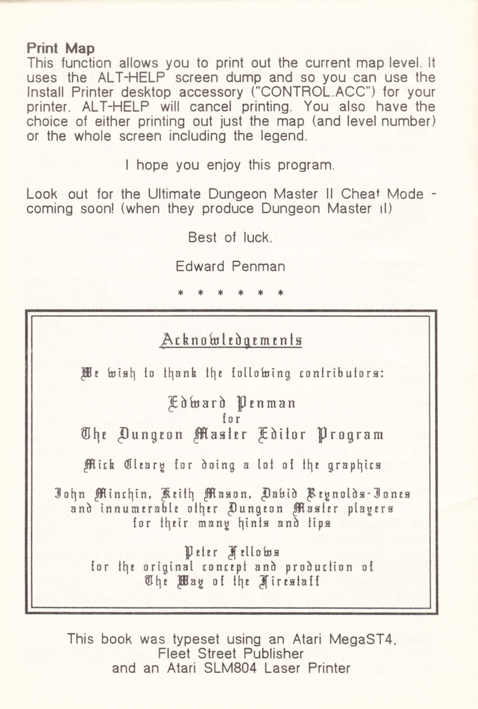 Tool - The Dungeon Master Editor - UK - Amiga - Atari ST Manual - Page 022 - Scan